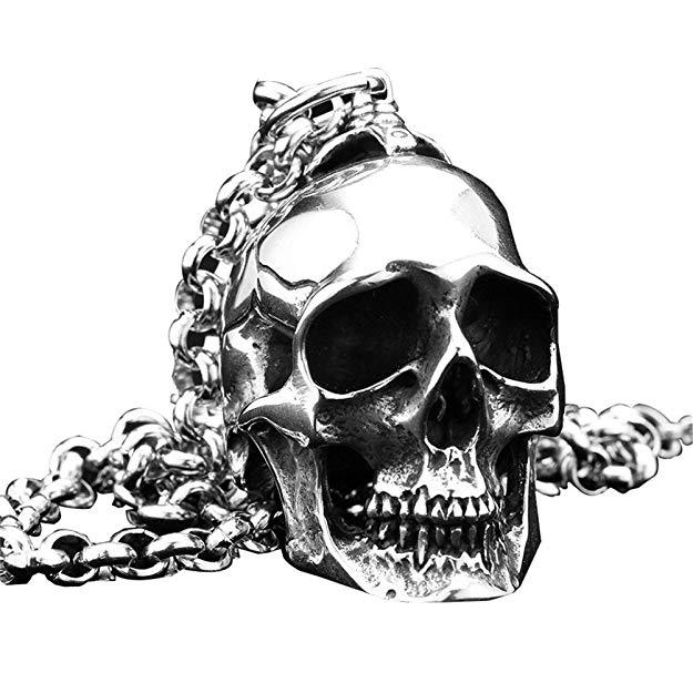 Cráneo Colgante Collar Punk Rock Plata Negro Vintage